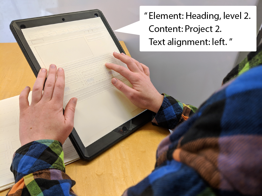A user double taps on a tactile sheet and hears our tool speak information about the layout element.