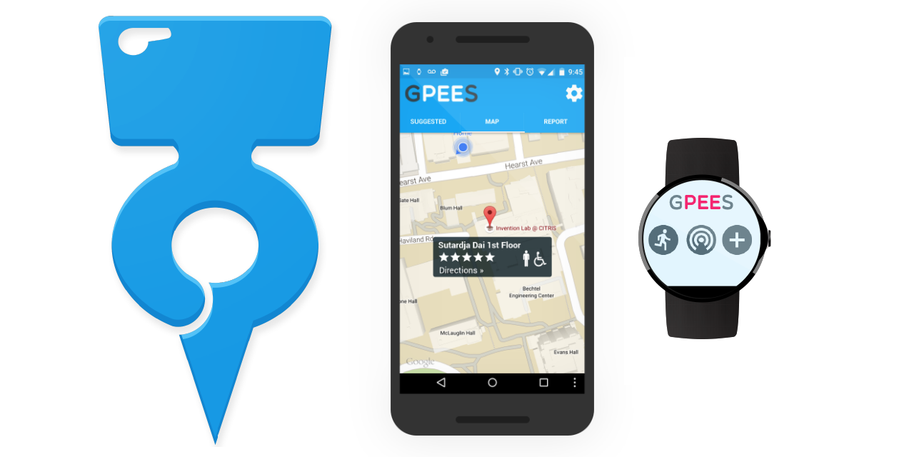 The G-Pee-S logo, and its interface on a smart phone and smart watch.