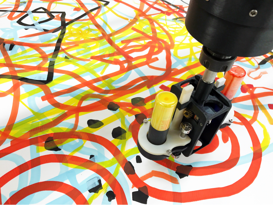 A multicolor large drawing fabricated on a CNC plotter.