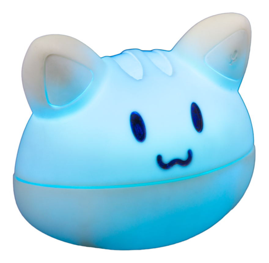 A plastic glowing cat face, who believes in you.